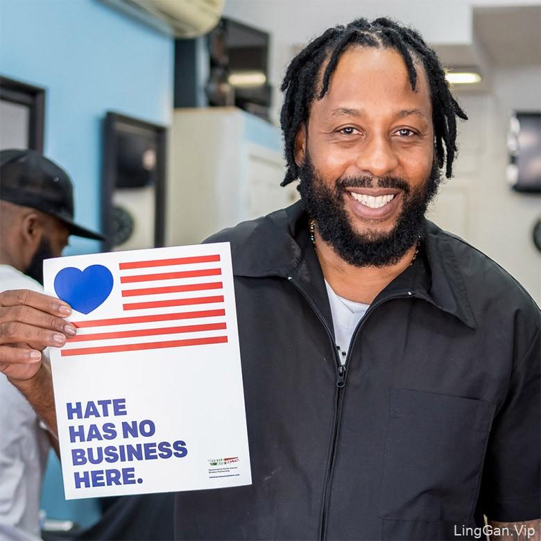 """""""这里没有仇恨"""" 纽约唐人街推广预防仇恨犯罪宣传贴纸"""