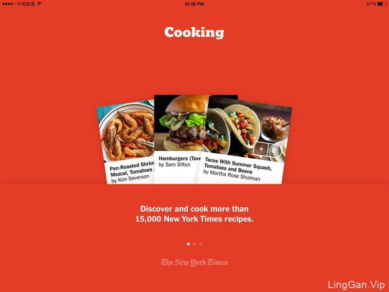 NYT Cooking美食应用iPad界面设计/平板界面