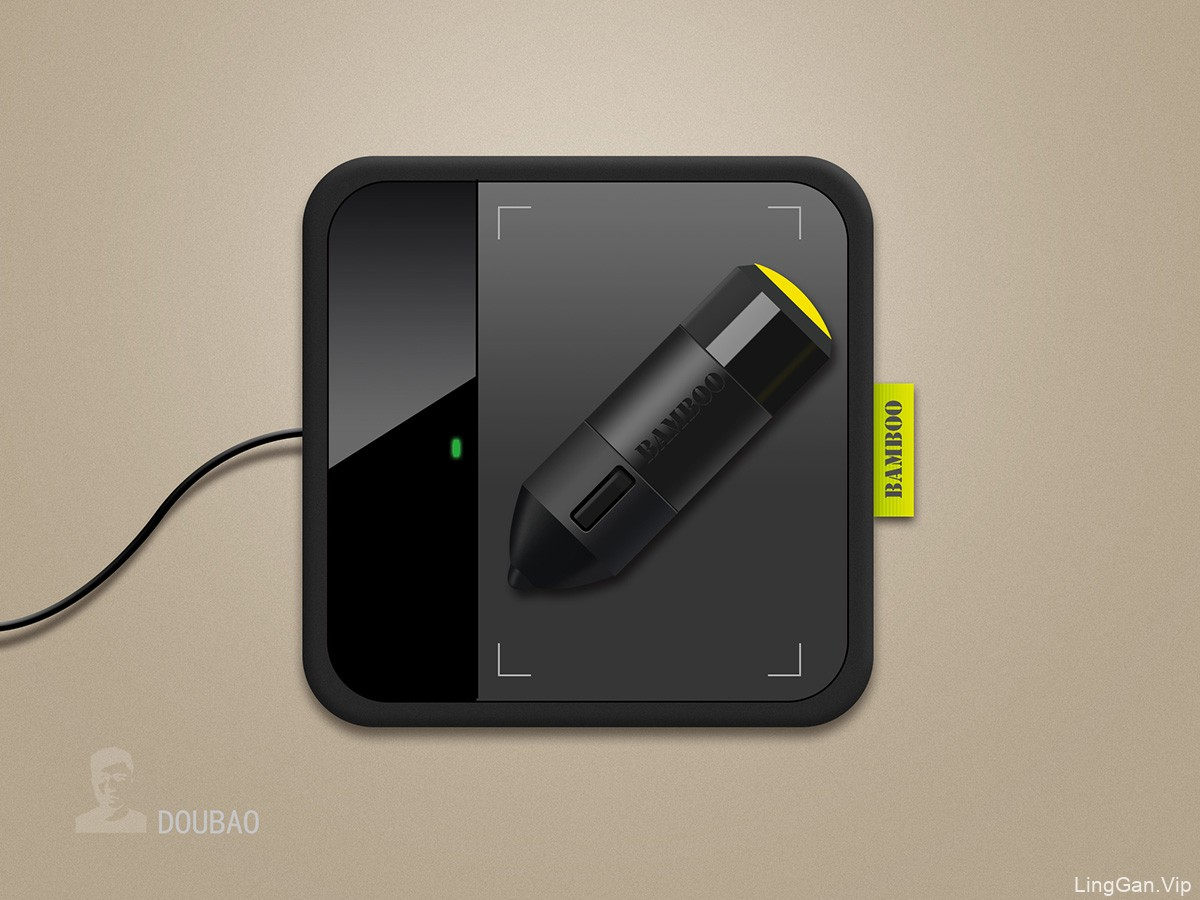 黑色手绘板带笔ICON图标设计