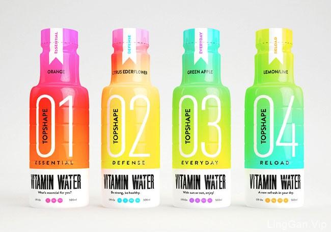 国外彩色Topshape维生素矿泉水瓶包装设计鉴赏
