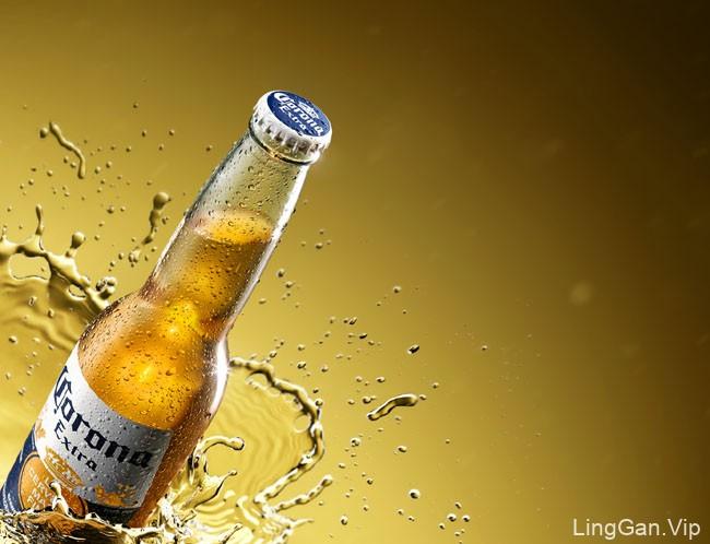 国外Corona Extra啤酒喷溅视觉设计效果欣赏