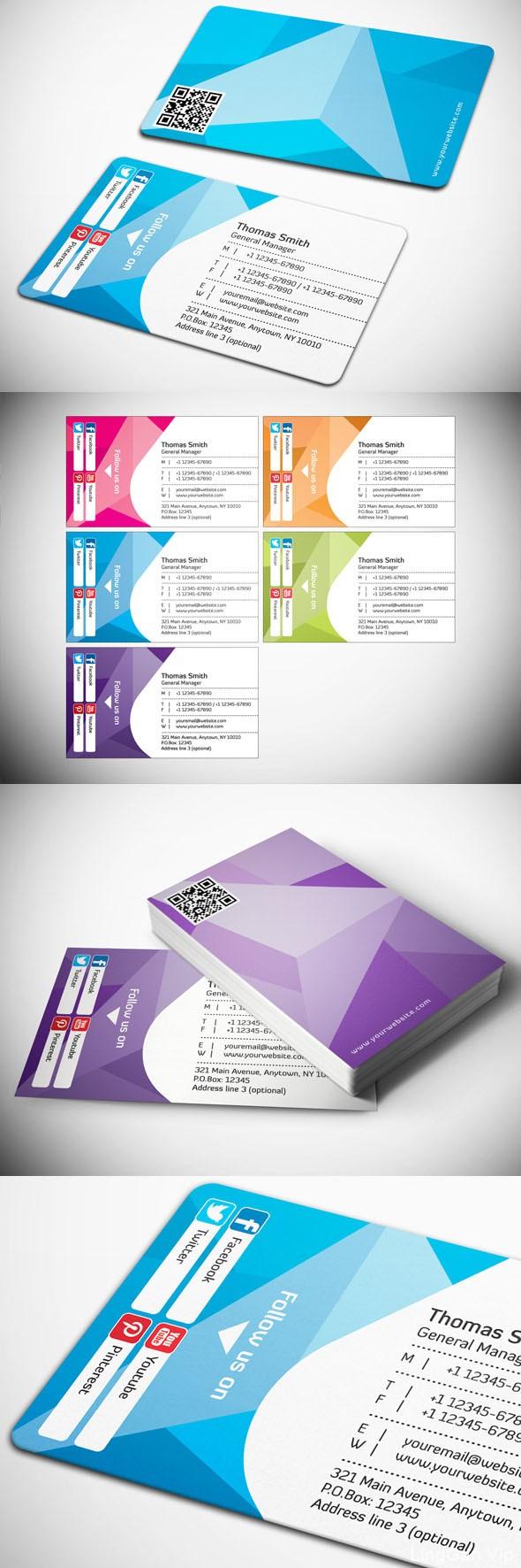 几款不同颜色的企业名片/现代商业名片设计模板