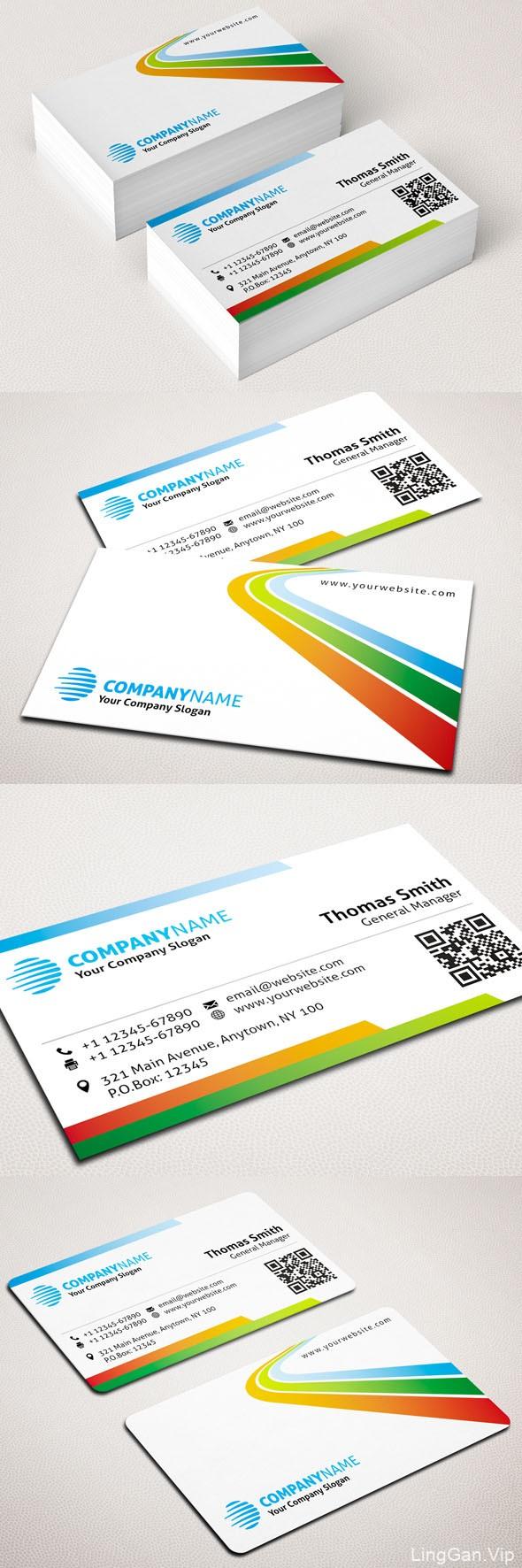 科技企业名片/现代商业名片设计模板-蓝色+彩色