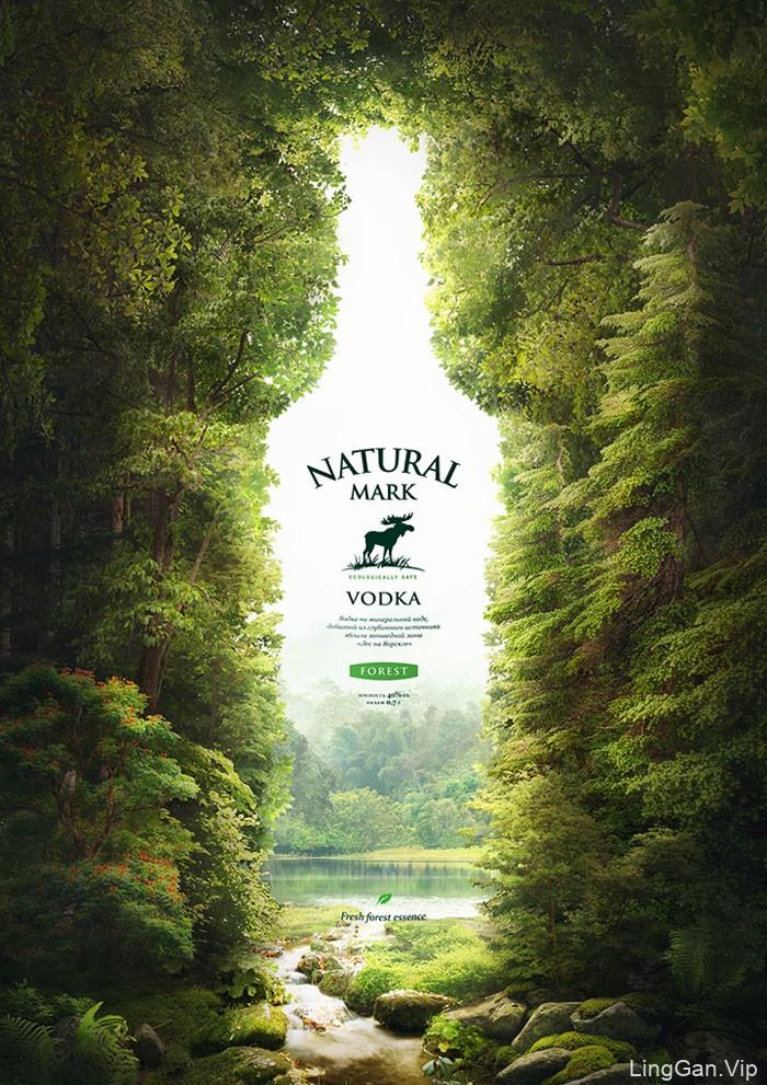 天然的矿泉水Natural Mark伏加特创意平面广告设计