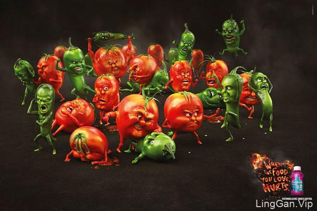 Gaviscon国外趣味创意广告设计主题:食物大战