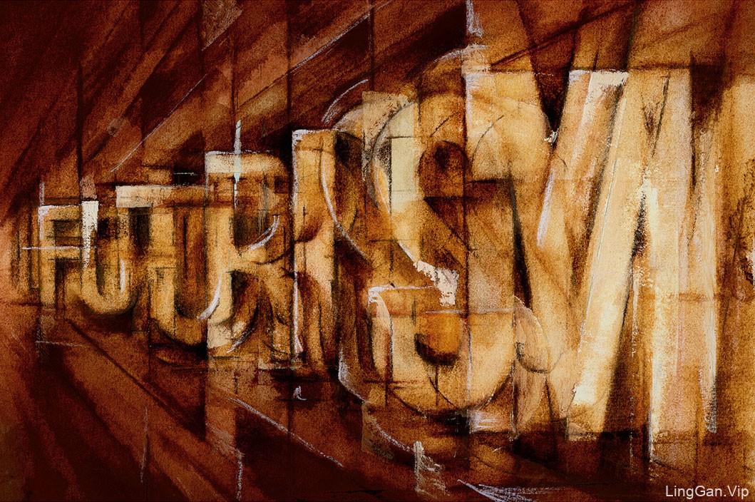 国外创意Futurism字体图形美术设计