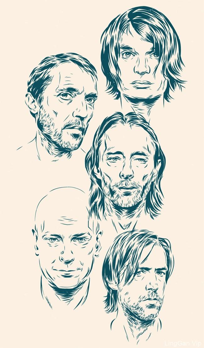 国外Radiohead乐队演唱会插画海报设计