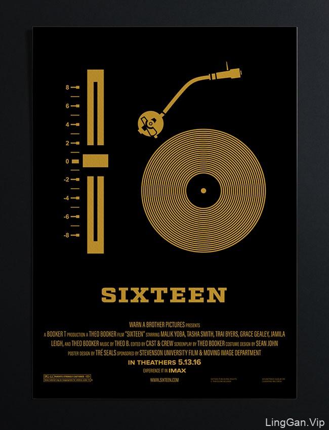 国外Sixteen电影项目图形式的极简海报设计