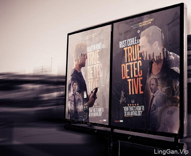 美剧《真探》电影人物宣传海报设计作品