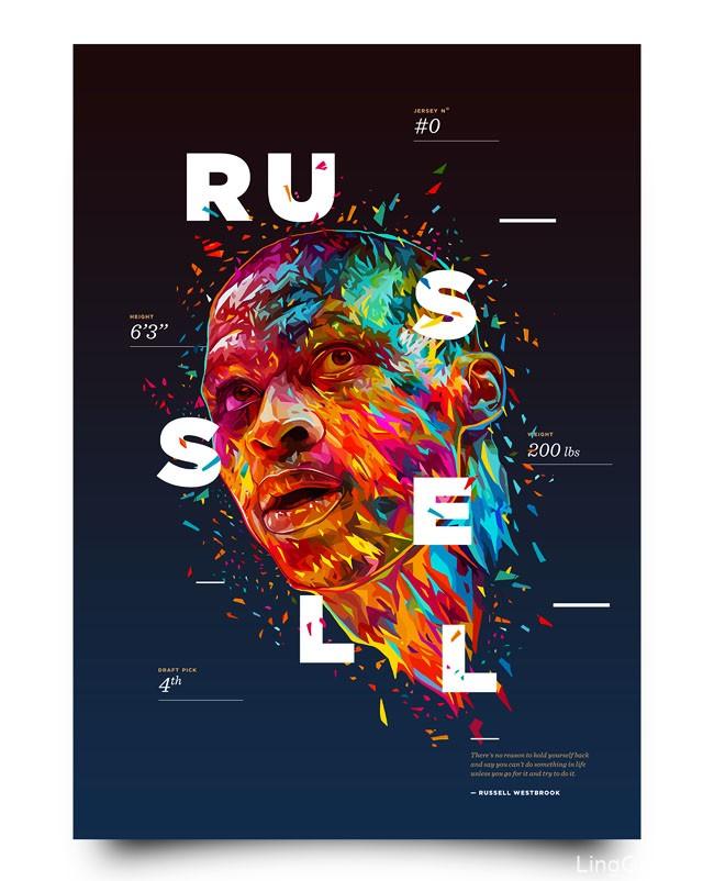 炫彩的NBA球星彩色肖像海报设计