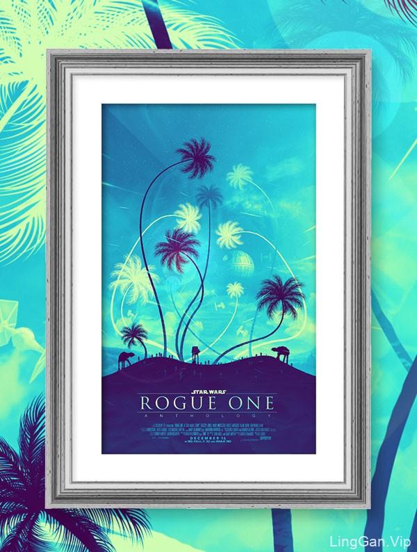 蓝色唯美的Rogue One星球大战题材海报素材