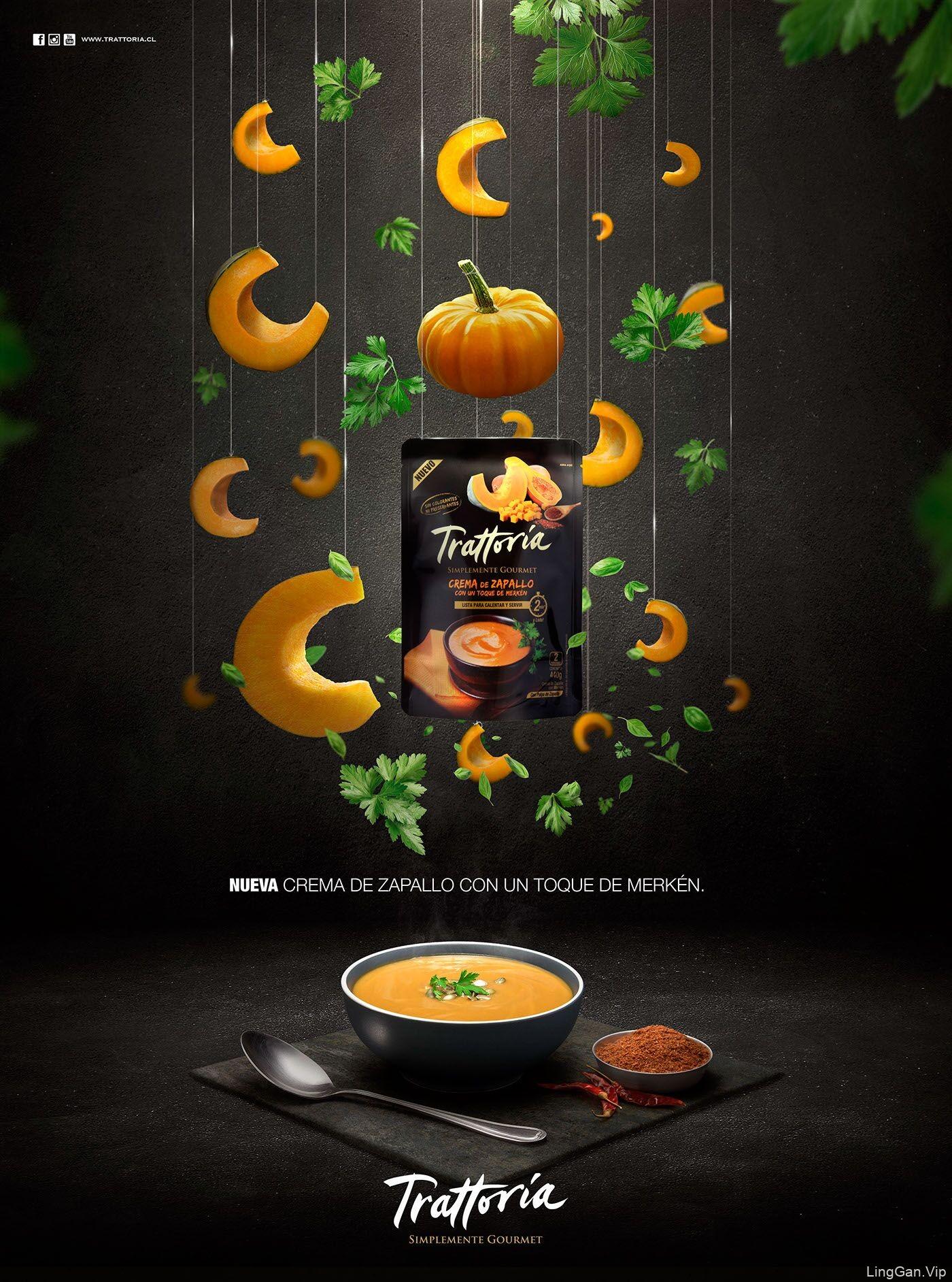 两款美食Trattoria创意设计海报-南瓜-西红柿