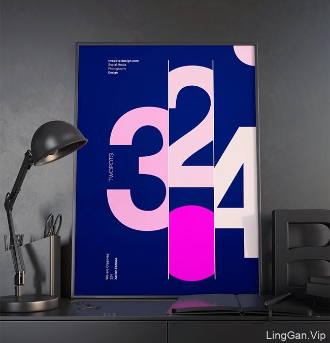 国外Twopots设计工作室极简宣传海报-路边屏幕海报