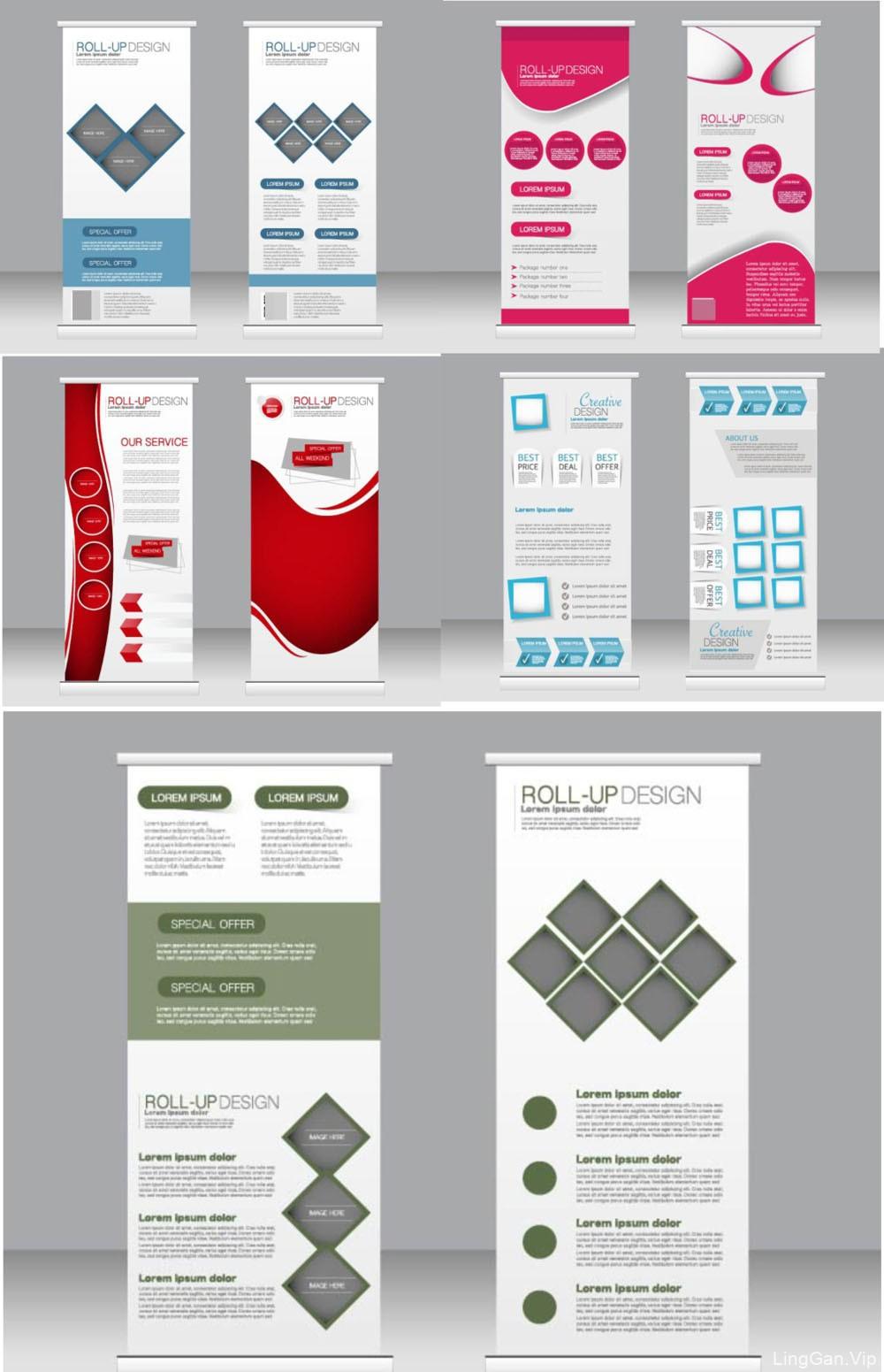 分享几种国外比较好版式的X展板设计/易拉宝展架设计模板
