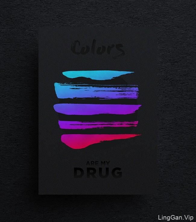 国外Colors are my Drug系列简约海报设计