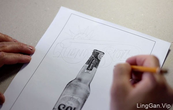 国外SOL啤酒手绘海报设计