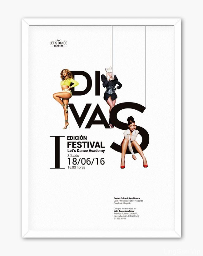 国外Let''s DanceAcademy舞蹈学校节日宣传海报