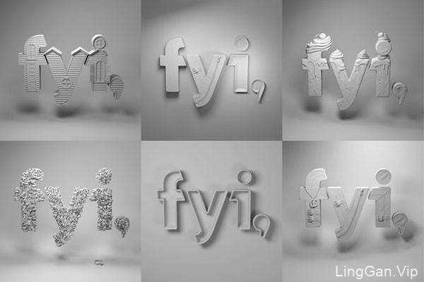 FYI系列立体字广告模版设计作品
