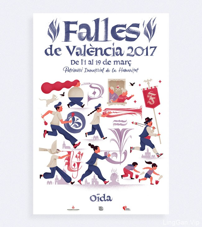 2017西班牙Fallas节日庆典插图海报设计