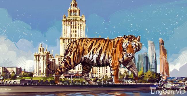 俄罗斯设计师Vikto Miller老虎插画设计
