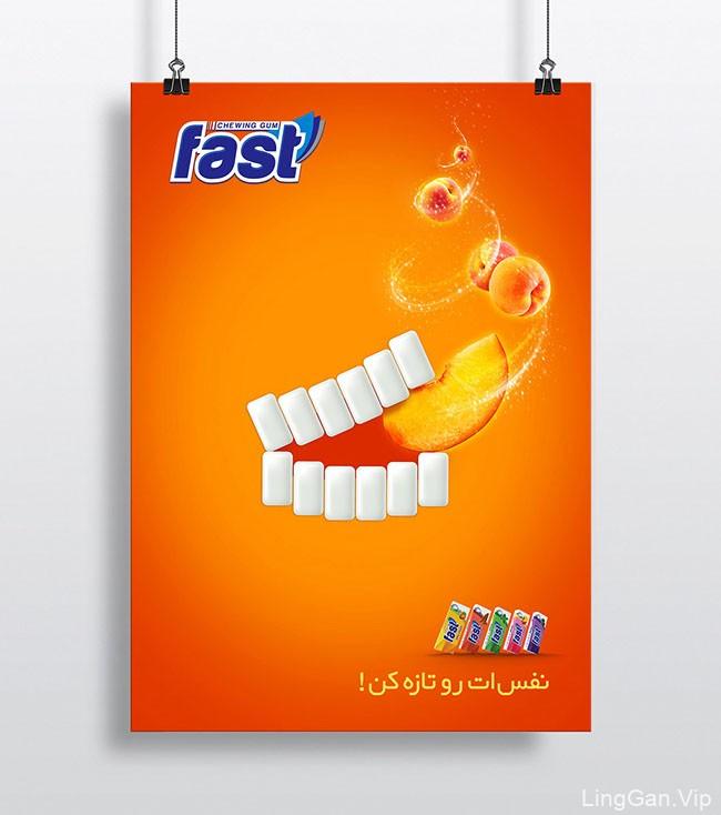 Fast Gum口香糖趣味创意海报设计