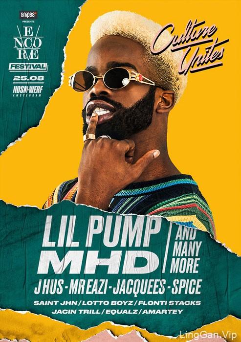 荷兰Encore Festival嘻哈音乐节人物海报设计