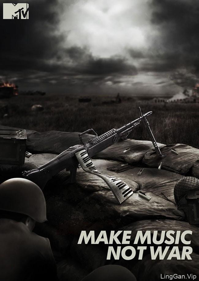 MTV印度版创意海报:音乐不是战争