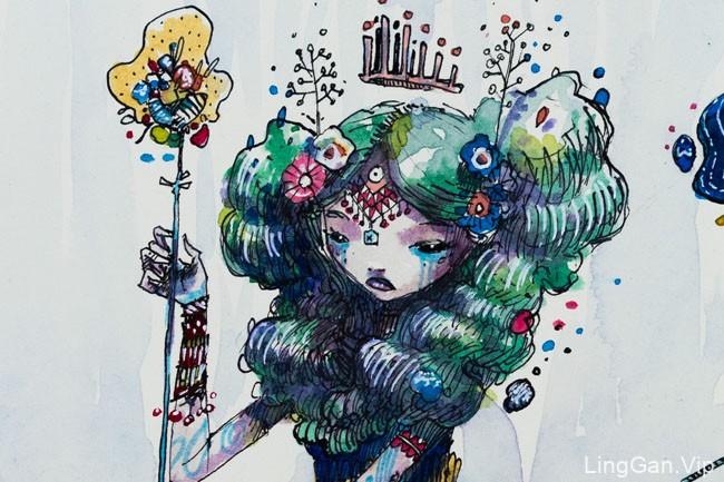 法国moon风格人物插画作品
