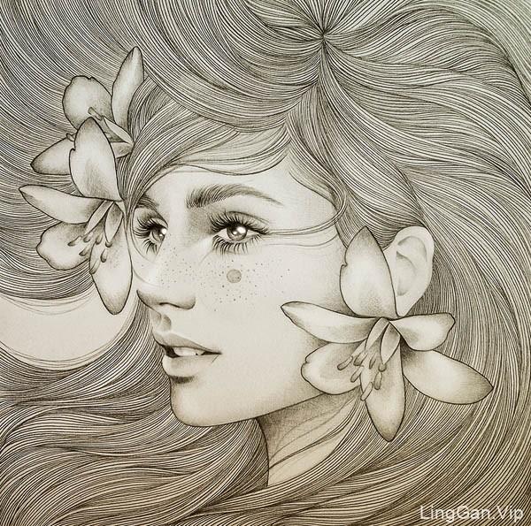 西班牙Mercedes deBellard优秀漂亮的美女插画