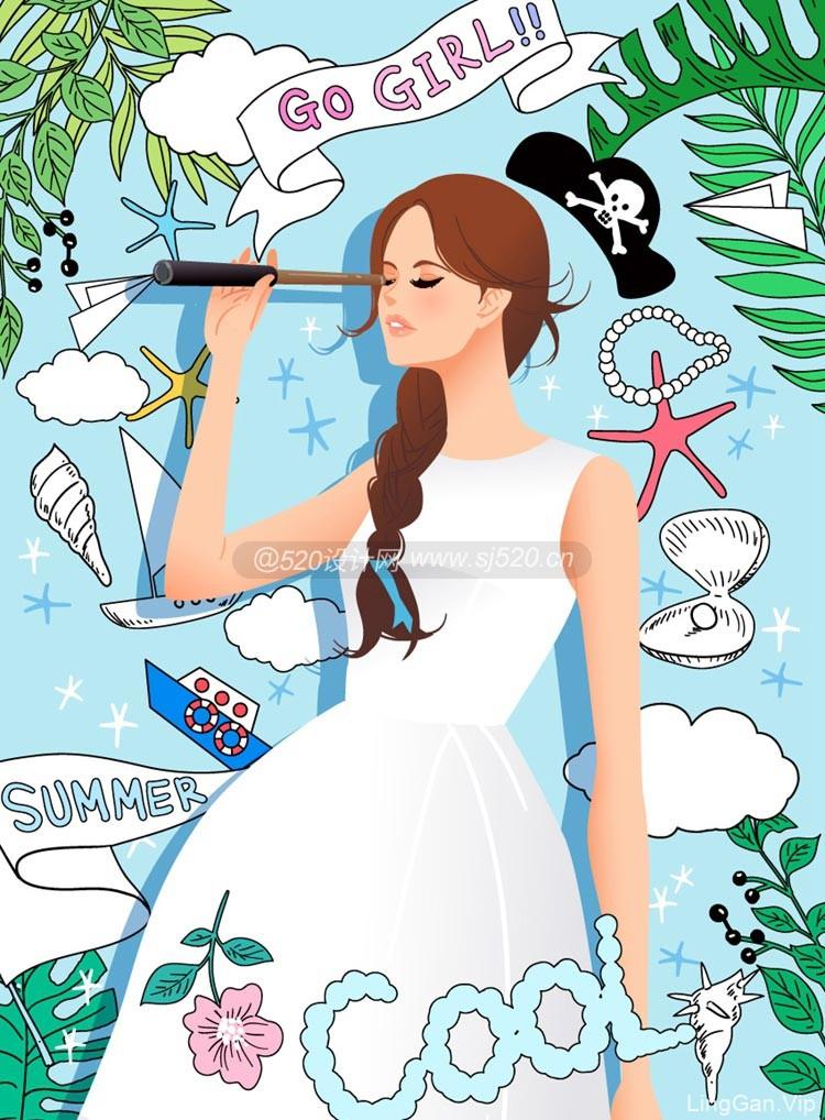 三八节美女插画促销海报设计(附AI源文件下载)