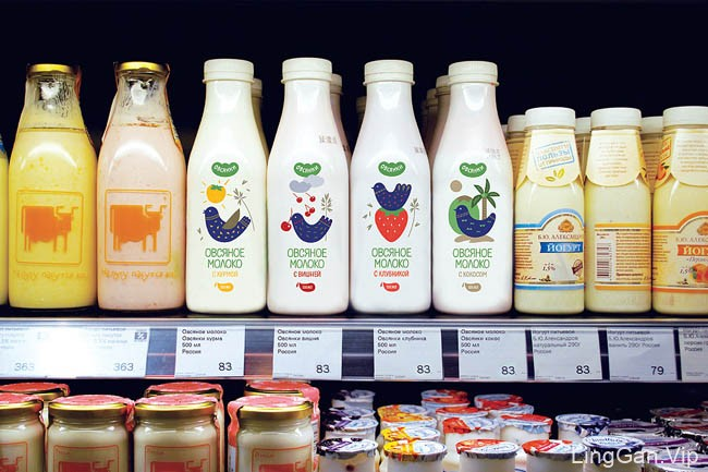 精美的Oatbirds燕麦奶瓶子包装和外包装设计合集