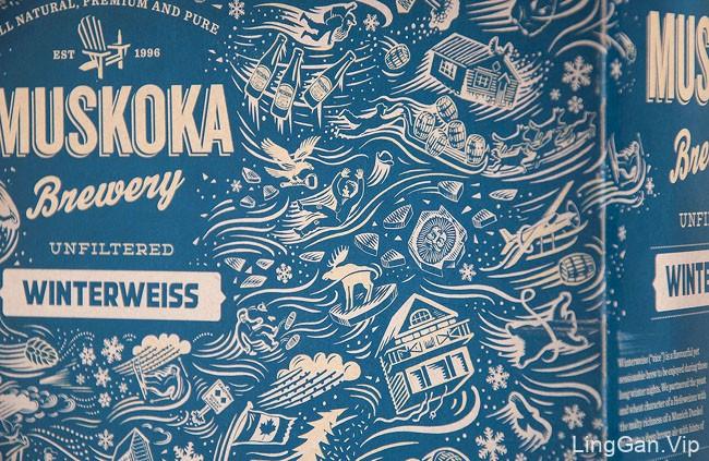 国外Muskoka啤酒冬季蓝色花纹包装设计