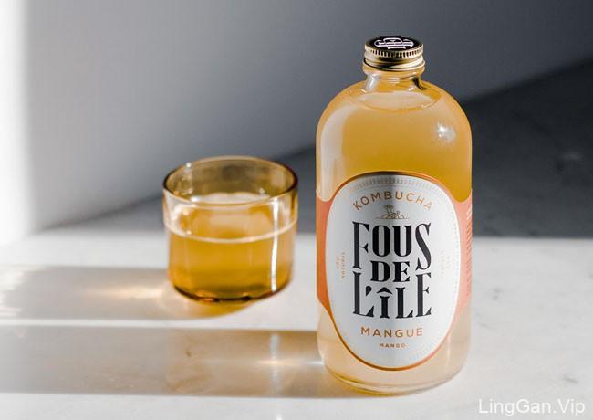 Kombucha Mangue 发酵茶饮料瓶贴包装设计