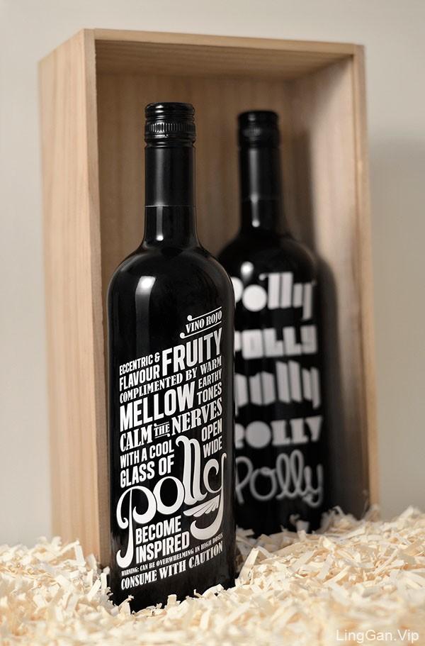 国外The Polly Bottles葡萄酒包装字体排版