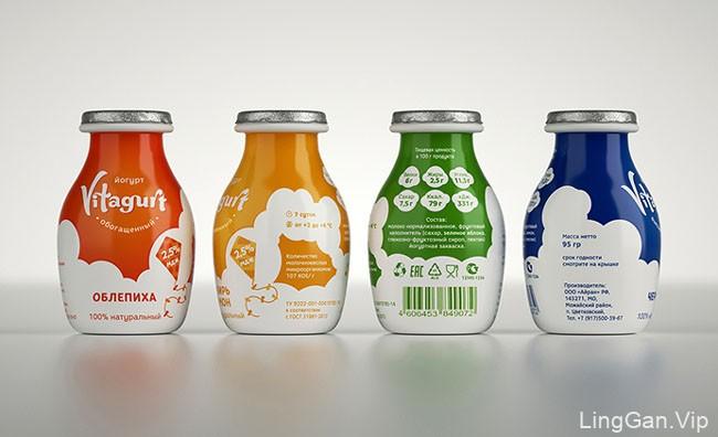 国外清爽的Vitagurt酸奶系列不同颜色设计风格包装欣赏