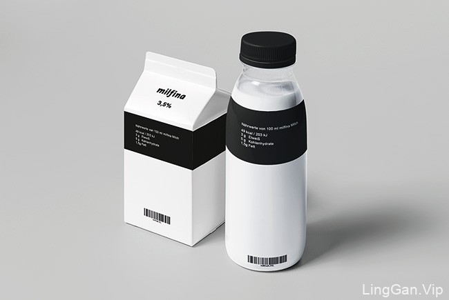 国外Milfina牛奶黑白极简包装设计欣赏
