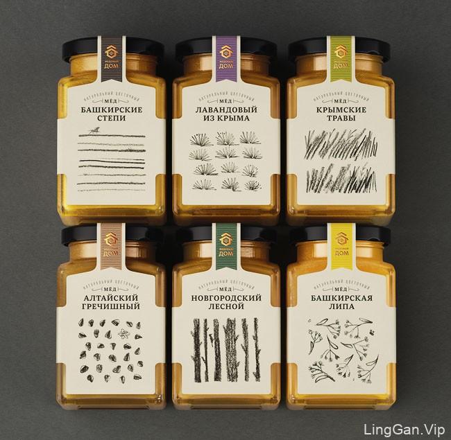 一套俄罗斯蜂蜜外包装多种颜色设计风格欣赏