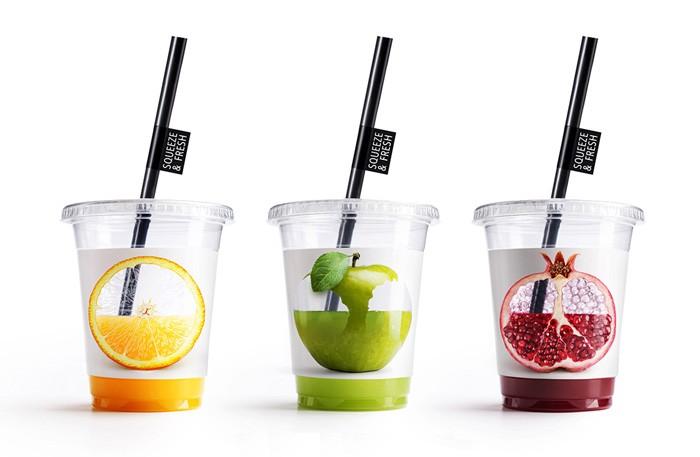 国外Squeeze & Fresh果汁创意杯子包装设计