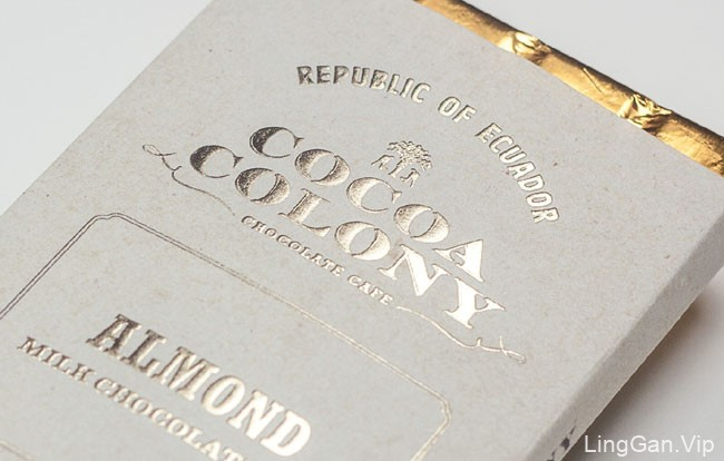 金色品质的国外Cocoa Colony巧克力外包装设计鉴赏