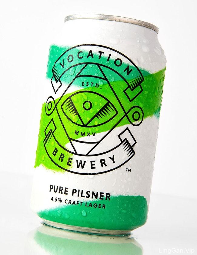 国外简单漂亮的Vocation罐装啤酒包装设计