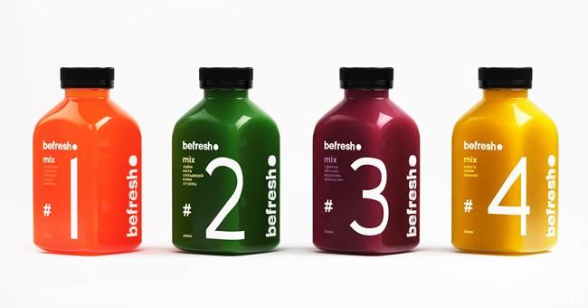 国外简洁漂亮的befresh果汁包装设计