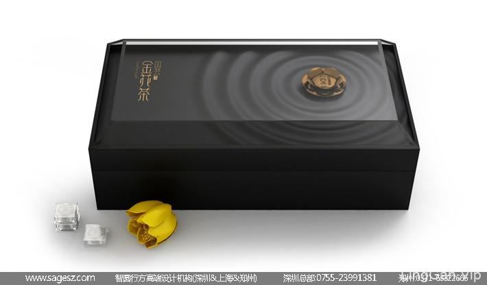 金花茶木盒包装设计 茶叶礼盒包装设计 保健品木盒包装设计
