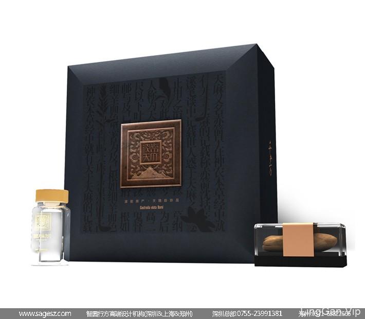 西藏天麻包装设计 天麻木盒包装设计 天麻礼盒包装设计