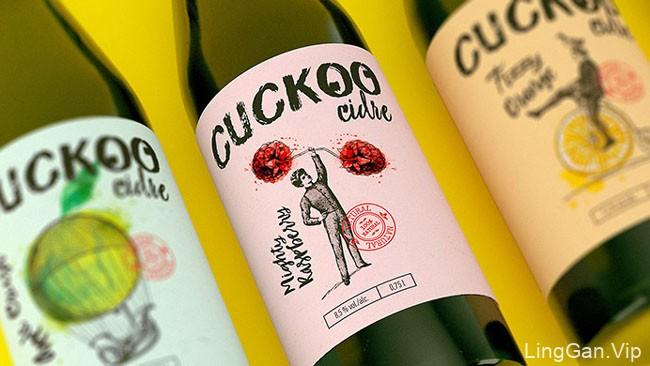 国外品牌Cuckoo Cidre果酒瓶贴设计