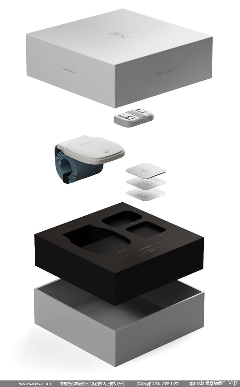 智能睡眠仪包装设计 智能穿戴设备包装设计 时尚数码包装设计