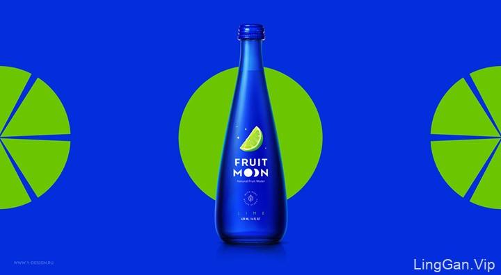 来自Fruit Moon天然果味饮用水系列精美包装设计