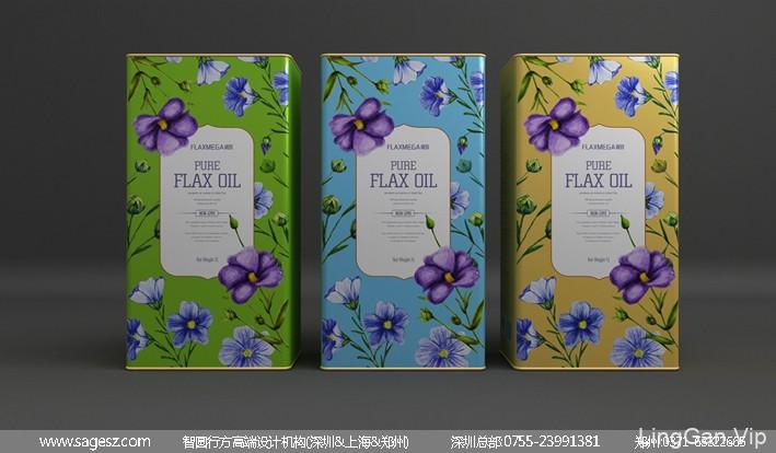亚麻油包装设计 食用油铁盒包装设计 粮油品牌包装设计