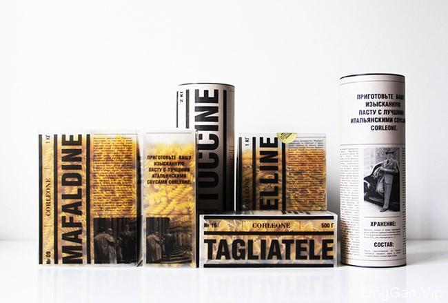 报纸风格的国外Corleone意大利通心粉包装设计