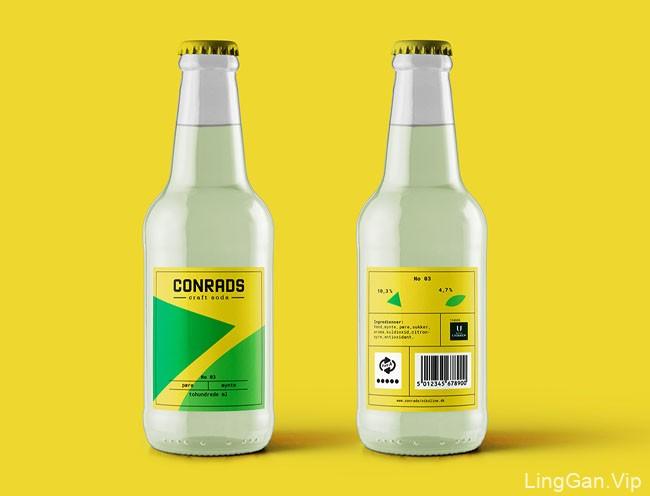 国外简约时尚的Conrads汽水瓶贴设计