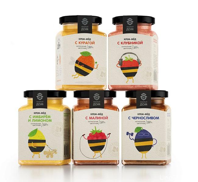 国外漂亮的水果味蜂蜜包装设计作品